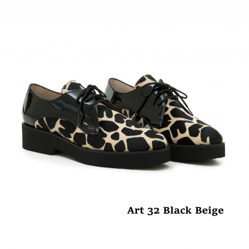 WOMEN SHOES ART 32 BLACK BEIGE
