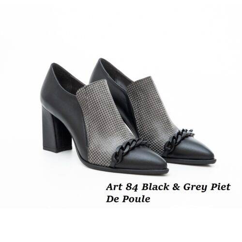 Women Shoes Art 84 Black & Grey Piet De Poule