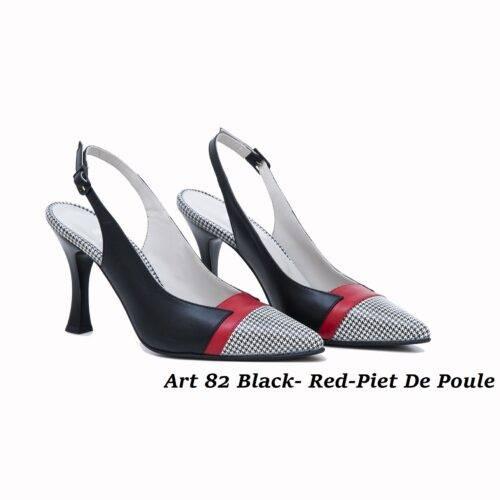 Women Shoes Art 82 Black-Red-Piet De Poule