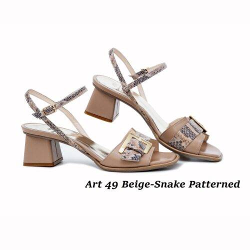 Women Shoes Art 49 Beige-Snake Patterned