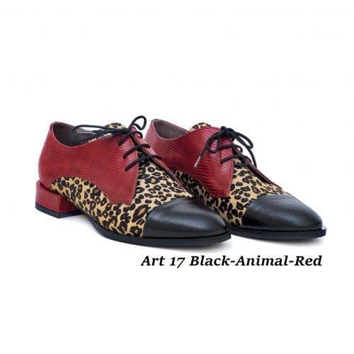 Women Shoes Art 17 Black-Animal-Red