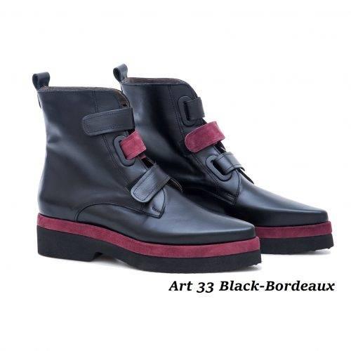 Women Shoes Art 33 Black-Bordeaux