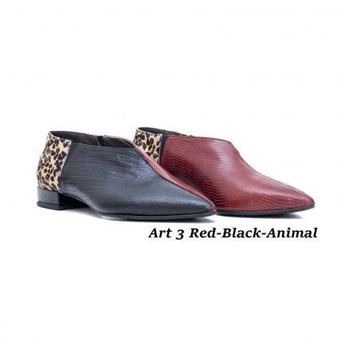 Women Shoes Art 3 Red-Black-Animal